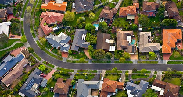 aerial view of residential street