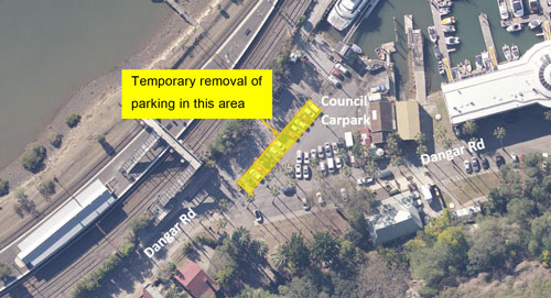 Temporary removal of parking in this area