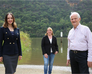 MP Robyn Preston, Mayor Michell Byrne and Mayor Philip Ruddock at the current boat ramp
