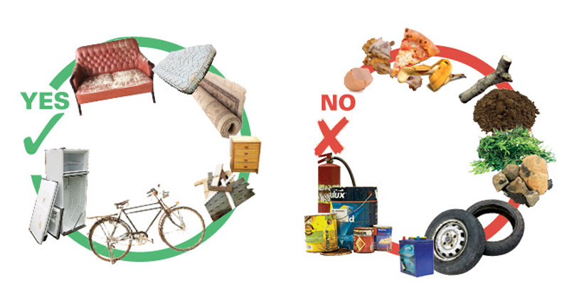 Accepted and Unaccepted bulky waste items