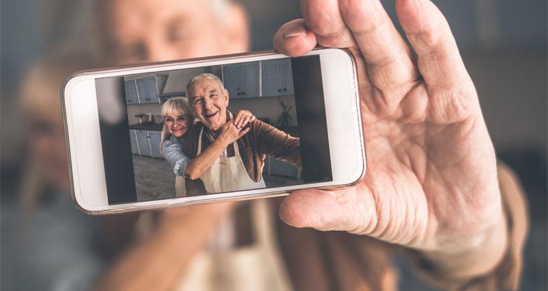 senior taking selfie