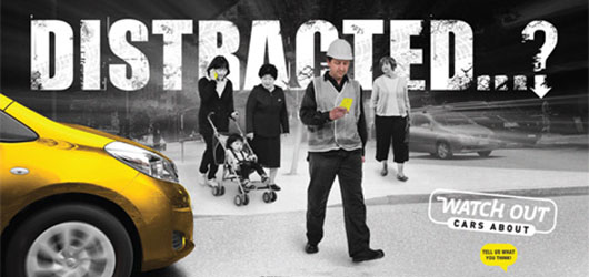Distracted - pedestrian safety campaign