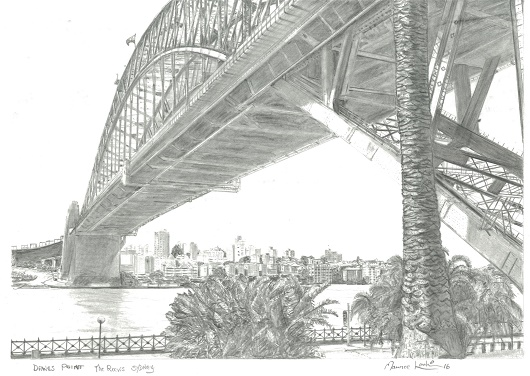 Drawing of Dawes Point and The Rocks by Maurice Larkin