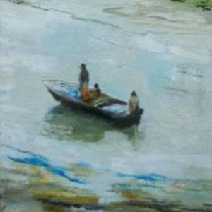 painted image of boat on water