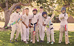 'Goofing around at cricket practice' by Claire Miles
