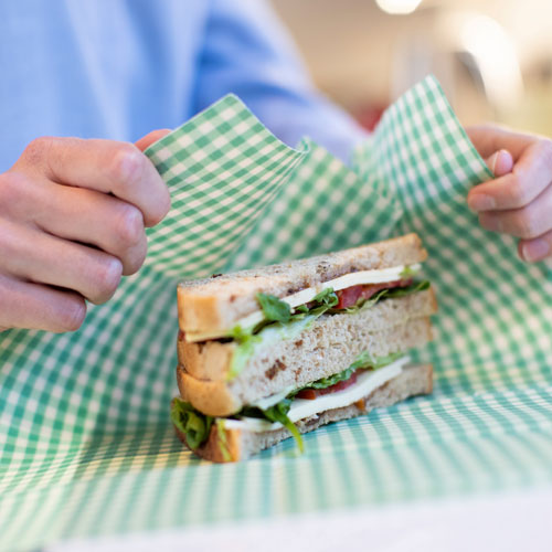 wrapping up a sandwich