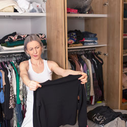 lady sorting clothes
