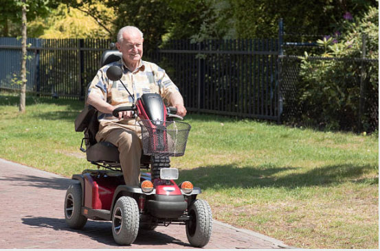 elderly male on mobility scooter