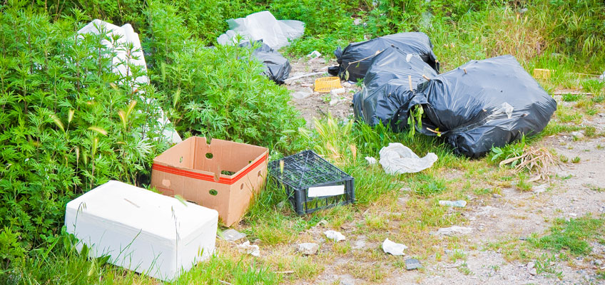 Illegally dumped rubbish on side of road