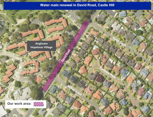 Aerial of David Road, Castle Hill work area