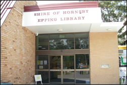 Photograph of the entry to Epping Library.