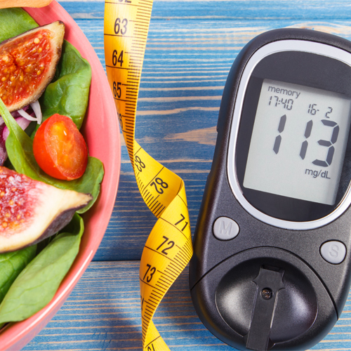 diabetes test and salad
