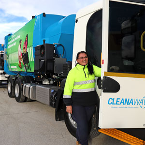Waste truck livery Cleanaway