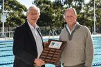 Mayor Steve Russell (left) presents award to Hornsby Aquatic and Leisure Centre Manager Scott Hewitt