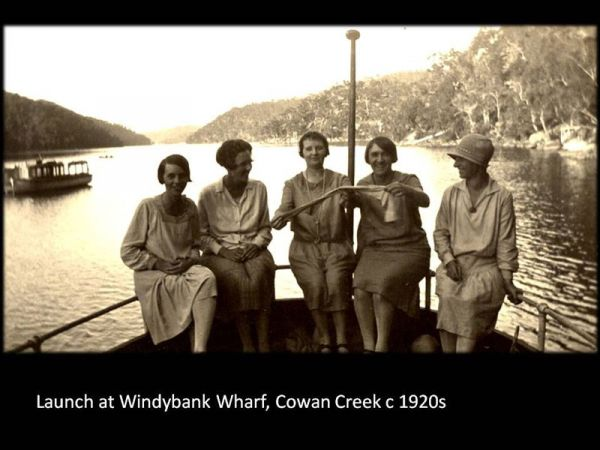 Launch at Windybank Wharf, Cowan Creek c1920 (Source: Hornsby Shire Recollects)
