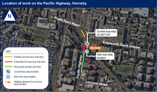 Location of work, Pacific Hwy, Hornsby
