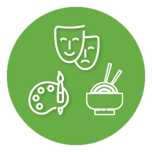 three white icons on green round background