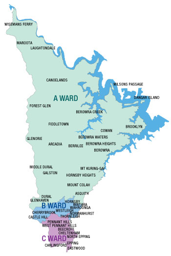 Map of Ward Boundaries in Hornsby Shire