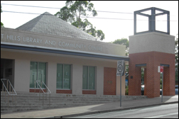 Photograph of the entry to Pennant Hills Library.